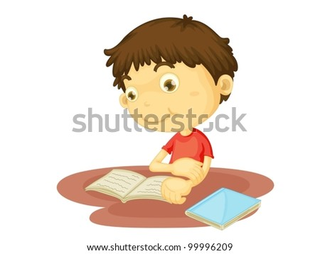 Illustration of boy reading a book - stock vector