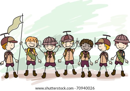 Illustration of Boy Scouts in a Campsite - stock vector