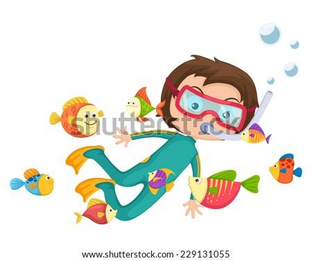 illustration of boy scuba diving vector - stock vector