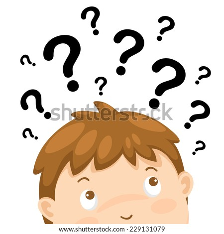 illustration of boy thinking with question marks vector - stock vector