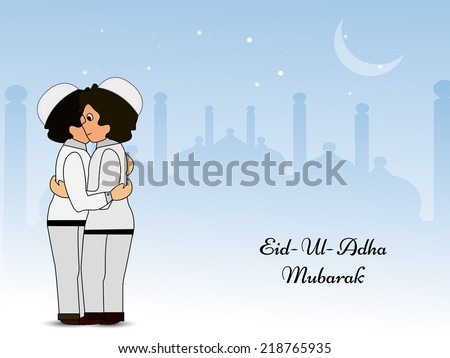 Illustration of boys hugging and wishing each other on the occasion of Eid-Ul-Adha  - stock vector