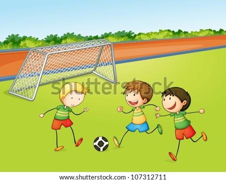 illustration of boys playing football on a play ground - stock vector