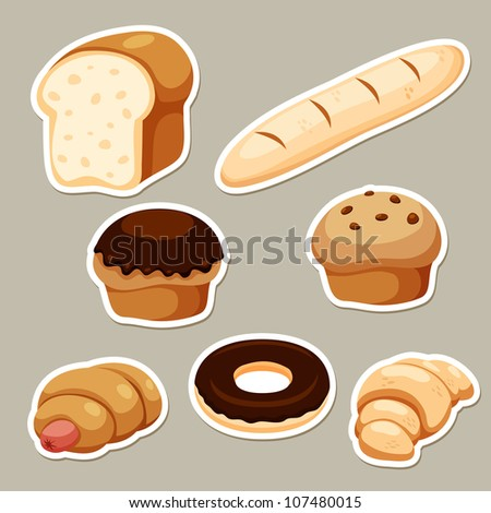 illustration of breads set on background - stock vector