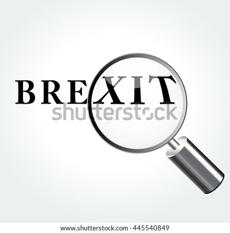 Illustration of brexit word concept with magnifying