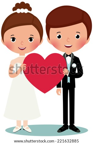 Illustration of bride and groom on a white background are holding heart/Groom and bride/Groom and bride are holding heart - stock vector