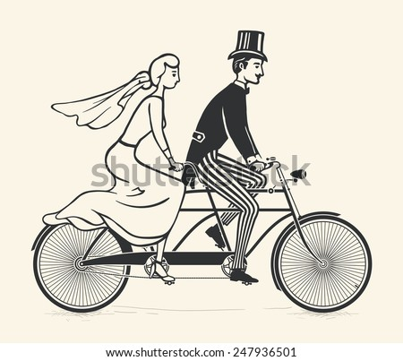 Illustration of bride and groom riding a vintage tandem bicycle over white background - stock vector