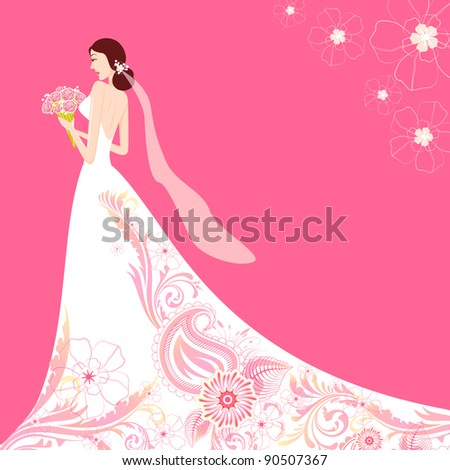 illustration of bride holding bouquet wearing floral wedding gown - stock vector