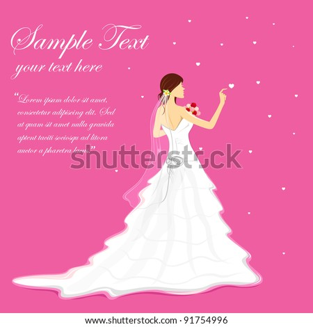 illustration of bride holding bouquet wearing wedding gown - stock vector