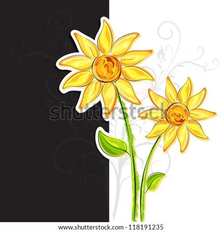 illustration of bright flower on blank card - stock vector
