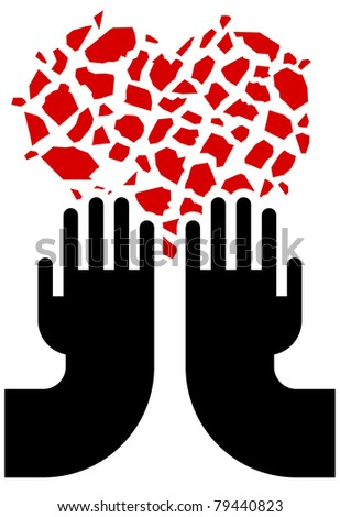 illustration of broken red heart and hands - stock vector