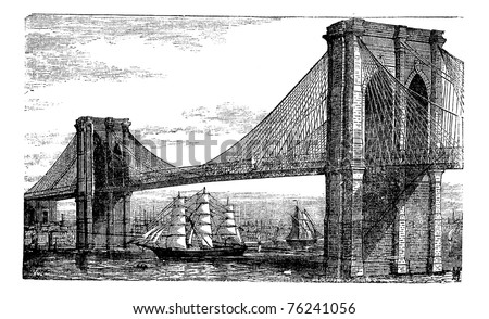 Illustration of Brooklyn Bridge and East River, New York, United States. Vintage engraving from 1890s. Old engraved illustration of the Brooklyn suspension Bridge completed in 1883, with ships - stock vector