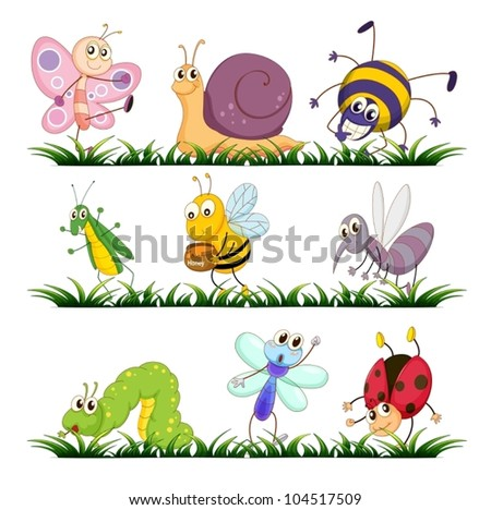 Illustration of bugs on grass - stock vector