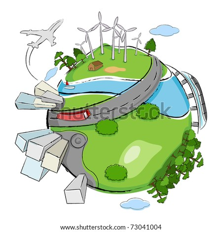 illustration of building,wind mill and tree around globe showing clean earth - stock vector