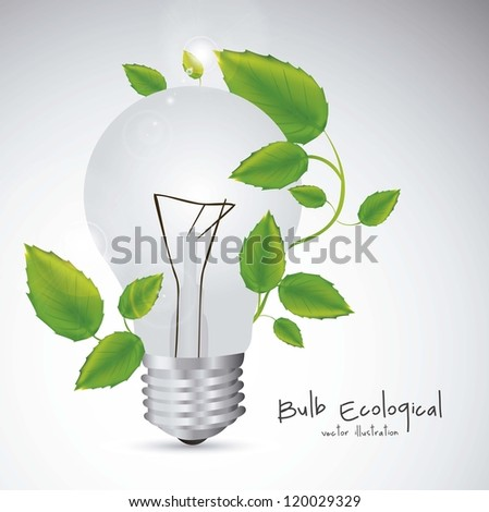 Illustration of bulb surrounded by plants and leaves, vector illustration