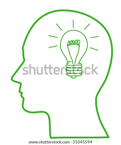 Illustration of bulb with ecology symbol in human head, vector - stock vector