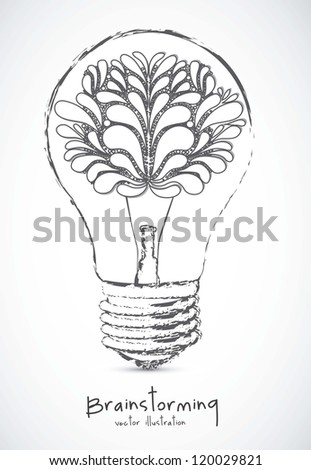 Illustration of bulb with human brain, vector illustration