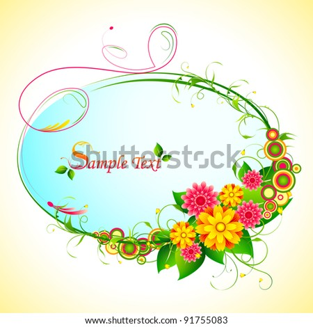 illustration of bunch of colorful flower frame - stock vector