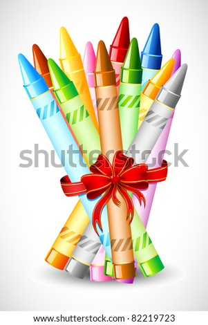 illustration of bunch of crayon tied with ribbon