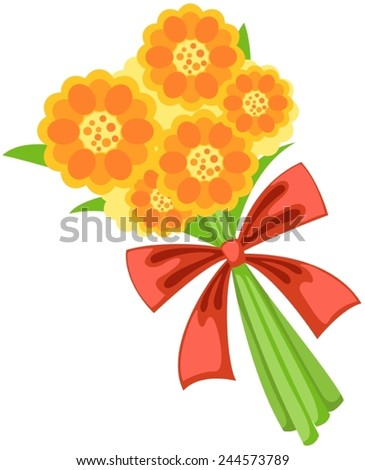 illustration of bunch of flowers on white background - stock vector