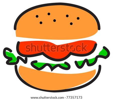 illustration of burger - stock vector
