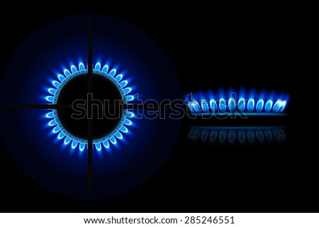 illustration of burner ring from two views up and side - stock vector