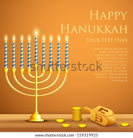 illustration of burning candle in Hanukkah Menorah with Dreidel - stock vector