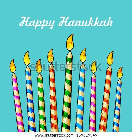 illustration of burning candle in Hanukkah Menorah with star of david - stock vector