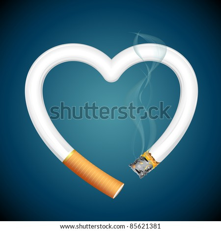illustration of burning cigarette in shape of heart on abstract background - stock vector