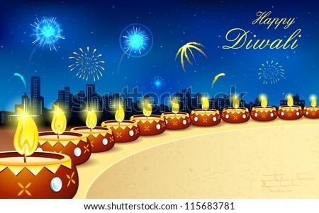 illustration of burning decorated diya in Diwali night - stock vector