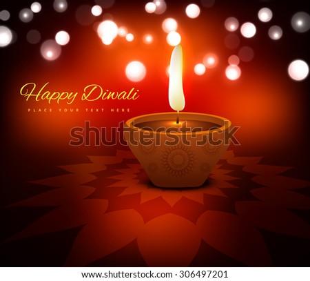 illustration of burning diya on diwali card holiday beautiful vector background - stock vector