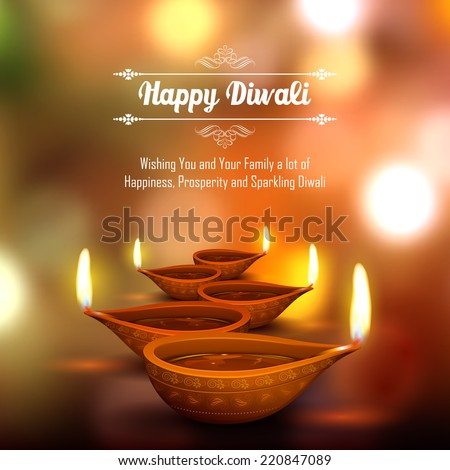 illustration of burning diya on Diwali Holiday background - stock vector