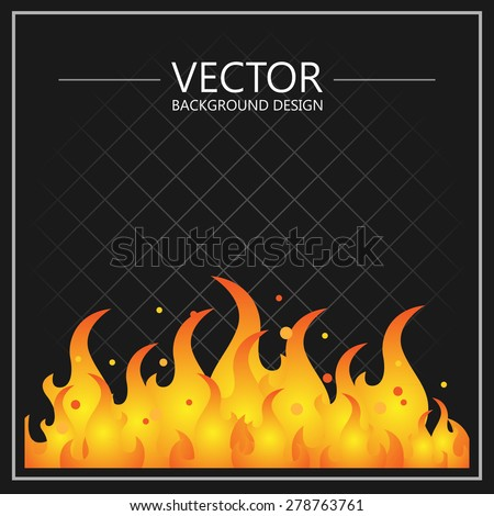 Illustration of burning fire flame on a black background. - stock vector