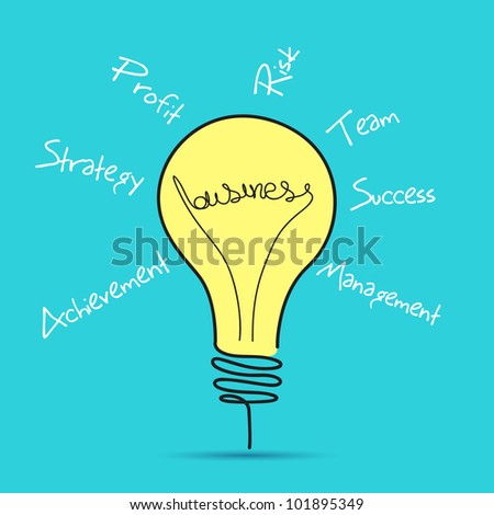 illustration of business bulb with business related word - stock vector
