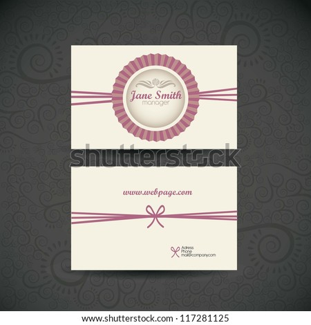 Illustration of Business Card retro, with vintage colored lines. vector illustration - stock vector