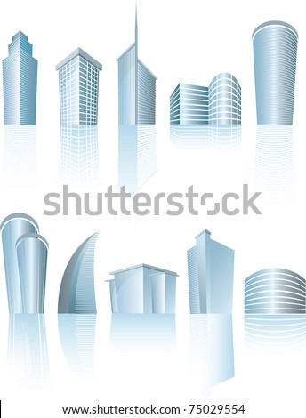 illustration of business city buildings on white - stock vector