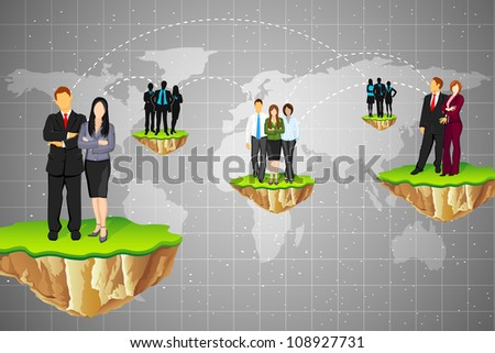 illustration of business connection between different part of world - stock vector