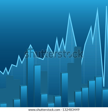 illustration of business graphs background, blue color - stock vector