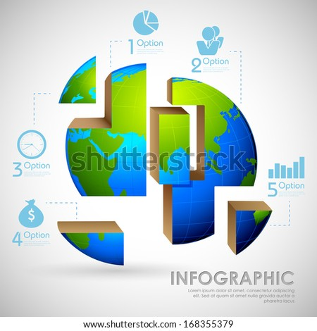 illustration of business infographics chart for presentation and promotion - stock vector