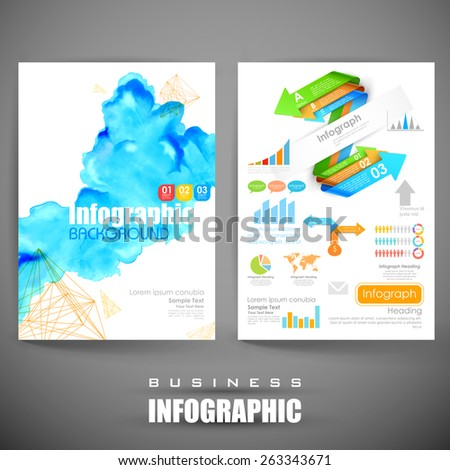 illustration of business infographics flyer for presentation - stock vector