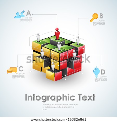 illustration of business infographics with human network - stock vector