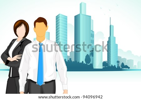 illustration of business man and woman standing on city backdrop - stock vector