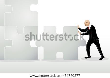illustration of  business man pushing jigsaw puzzle to connect
