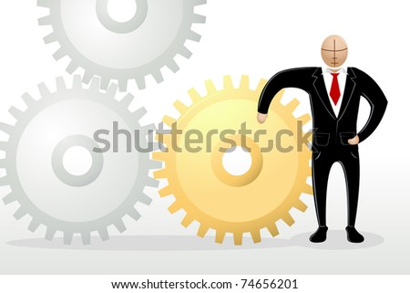 illustration of business man standing with cog wheel - stock vector