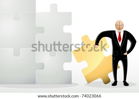 illustration of  business man standing with jigsaw puzzle - stock vector