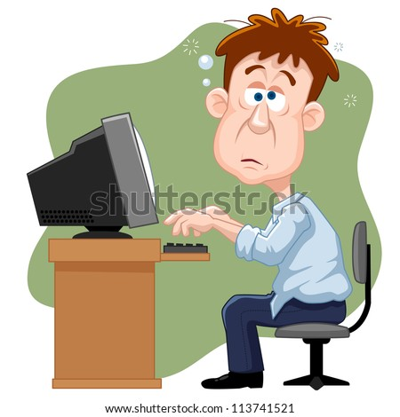 illustration of Business man working hard - stock vector
