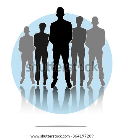 Illustration of business men and women group with light blue circle background - stock vector
