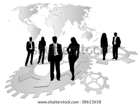 Illustration of business men and women, with reflection and wheels