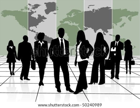 Illustration of business people - stock vector