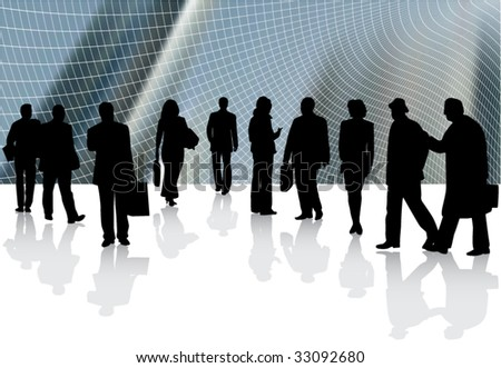 Illustration of business people and abstract