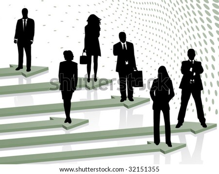 Illustration of business people and arrows - stock vector
